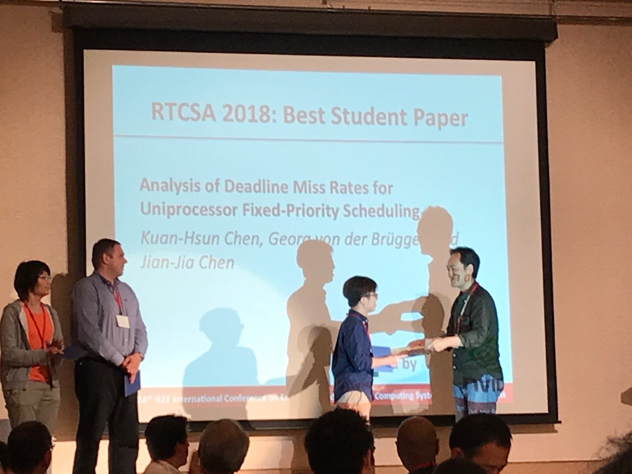 """... for Uniprocessor Fixed-Priority Scheduling"""" by Kuan-Hsun Chen, Georg  von der Brüggen and Jian-Jia Chen was awarded the RTCSA Best Student Paper  Award."""